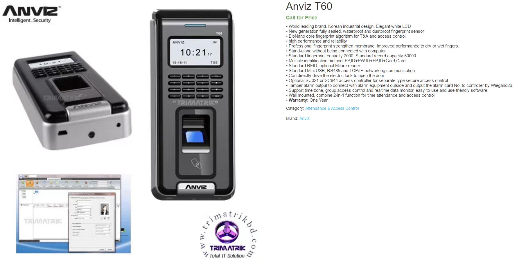 Anviz T60 Fingerprint Access Control Bangladesh