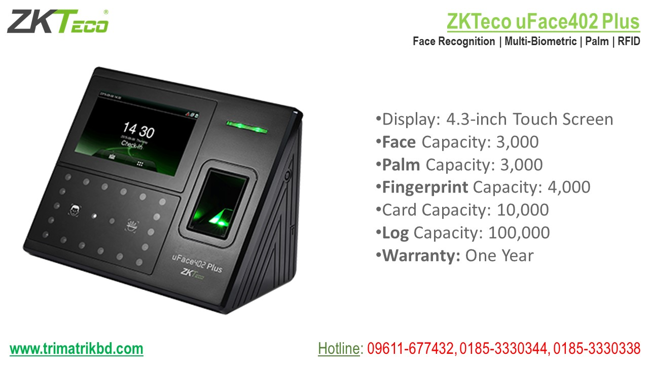 ZKTeco uFace 402 Plus in Bangladesh